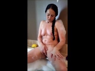 MILF bubble bath turns into play time