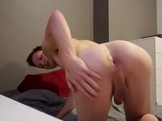 Extremely Horny Teen Quivers as he Fills His Ass and Cums While Home Alone