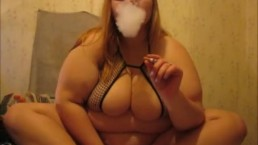 Ugly Fat Ass smoking and playing with vibrator