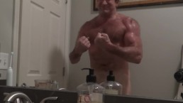 Flexing My Muscles in Front of a Mirror and Then Shooting a Load