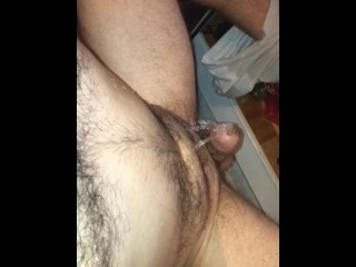 stroking my cock and pissing on myself
