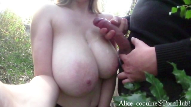 Just right boobs movies Tittyfuck right next to the road, cumshot on my f cup boobs