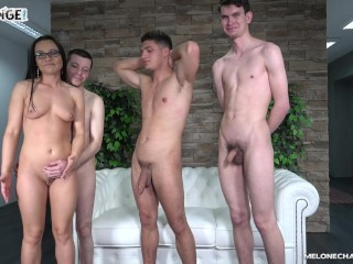 Horny Wendy Moon takes three guys to fuck her but only one works