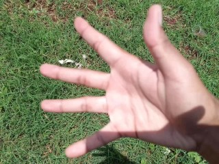 Shy Teen Reveals Hand Fetish Outdoors