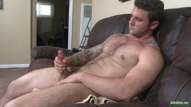 Muscular hairy gay guys Hung and hairy straight army hunk jerks his cut cock