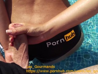 MILF Fucked in the Pool, Big Cumshot on Tit's