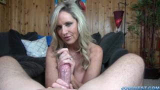 Jodi West strokes you dick until you cum!