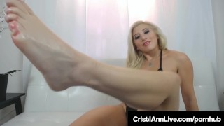 Latina Asian Teen Cristi Ann Oils Her Big Ass Tits Feet & Pussy! Shaking thick
