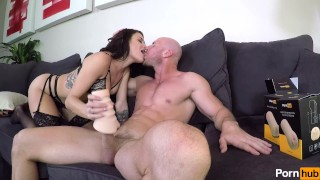 Kissa and Johnny Sins Blowjob and Handjob using Pornhub Toys Strokers