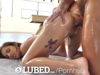 LUBED Messy lubed up living room fuck and creampie with Sydney Cole