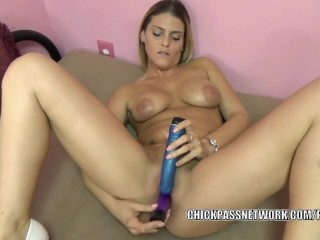 Busty nympho Stevie Rae is masturbating with a pair of toys