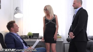Bambi gets Double Dicked at the Office Blowjob natural