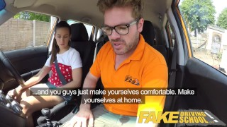 Fake Driving School Horny learners dirty secret suck and fuck session Doggystyle and