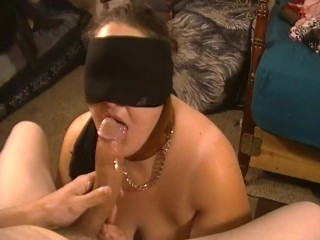 Scrunch Back Thong Blindfolded Slut Gives Sloppy Head