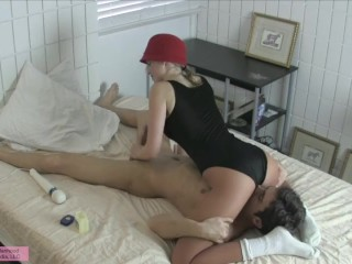Face Sitting Edging Handjob w Cum on Shiny Pantyhose