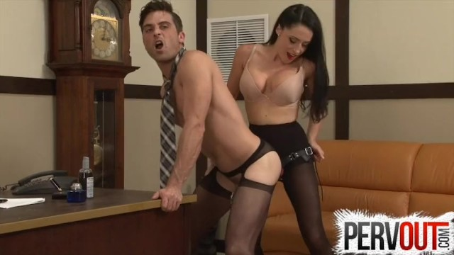 Her cock femdom story Cleo fucks her chastity bitch bosss ass in his office