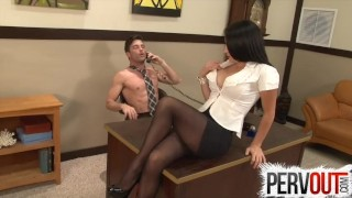 Cleo Fucks Her Chastity Bitch Boss's Ass In His Office Busty huge