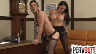 Cleo Fucks Her Chastity Bitch Boss's Ass In His Office Tits busty