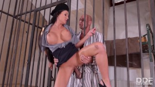 Bars guards fantasies prison through fucking the blowjob tits