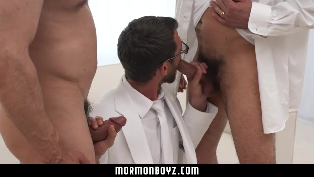 MormonBoyz-Two bearded daddies double fuck a horny Mormon recruit