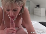 MILF Lady Sonia to strip and suck intruders dick
