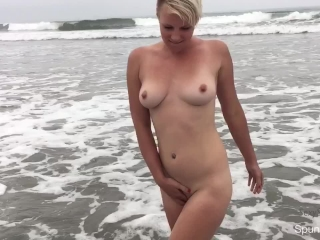 Public Beach Pussy Play in the Pacific Ocean