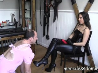 Lady G Humiliates Her Slave - Czech Queen makes slave to suck huge dildo