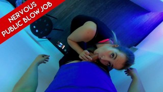 NERVOUS PUBLIC BLOWJOB After gym head in tanning bed