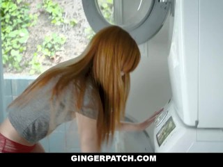 Preview 2 of GingerPatch - Firecrotch Cutie Sucks Stepdads Cock For Cash