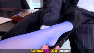Hot Dirty Secretary Seduces her boss - Blow Me POV