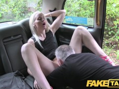 Horny blonde fucked in the ass on taxi bonnet