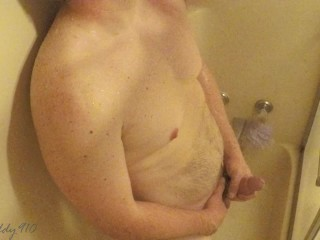 Horny daddy masturbating in the shower while home alone. Huge cum shot.