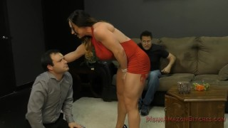 Battered Husband and his Muscle Queen WIfe- Femdom  fitness babe face sitting slave asslicking mom kink rimming domme butt mother muscle foot worship meanamazonbitches mean bitches female muscle femdom ass worship lick her asshole
