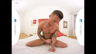 Gay VR PORN - Tattooed Muscley Dom stroking his big dick Reality euro