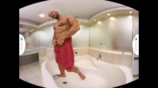 Gay VR PORN - Bald sexy Thomas Masturbates in the shower Glory gagging