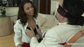 Panty groping old perv with two gorgeous girls