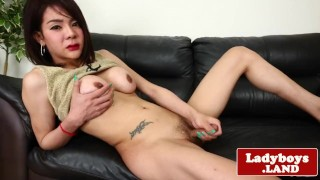 Tugging hard foxy cock solo bigtitted ladyboy tgirl asian