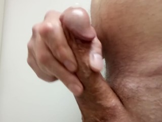 Masturbating my hard cock before work