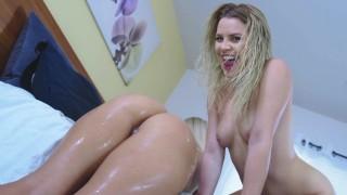 Teen Aubrey Sinclair sloppy ass worship with Alexis Monroe!