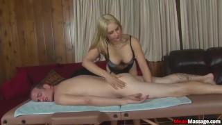 Sexy blonde masseuse Dick jacks
