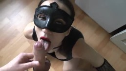 Blow in mask, cum in mouth