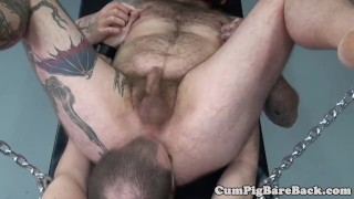 Dominant mature bear assfucking his slave Reverse threesome