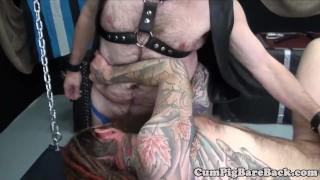 Dominant mature bear assfucking his slave