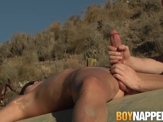 Bound Charley Cole gets a vicious handjob from Sean Taylor