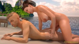 Surprise Beach Sex. 3D Futa fucks a guy hard!