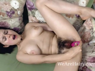 Ole Nina comes indoors to masturbate with her toy