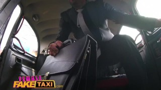 Female Fake Taxi Heist makes sexy driver horny for a good fucking in cab Teenager shaved