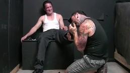 Perverted gay dude Kent goes down on Jack Francos feet