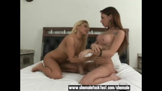 Threesome with a busty Shemale a sexy blonde babe and a horny stud