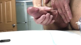 Thick cock with veins cumshot